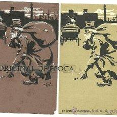 Postales: (PS-23773)POSTAL Y DIBUJO ORIGINAL DE ILUSTRADOR V.BUIL SERIE DE BARON A COLILLERO. Lote 28426369