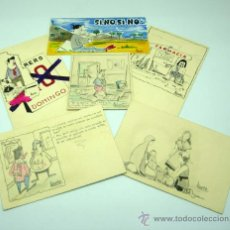 Postales: 6 TARJETA FELICITACIÓN HUMOR DIBUJADA FIRMADA ALBERTO 1962. Lote 29761873