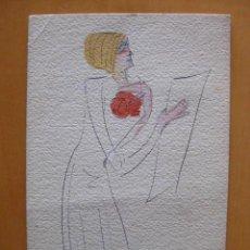 Postales: BONITA POSTAL DE MUJER PINTADA A MANO. FIRMADA POR MIRET. AÑO 1919.. Lote 30284097