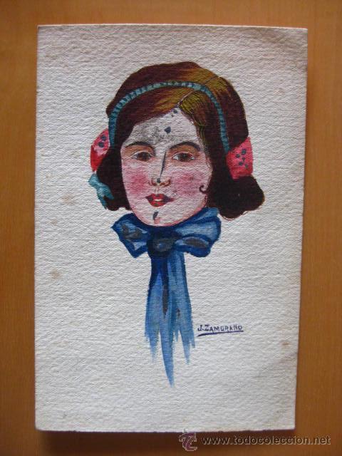 BONITA POSTAL DE MUJER PINTADA A MANO.1916. FIRMADA JOSE ZAMORANO FERRER. (Postales - Postales Temáticas - Dibujos originales y Grabados)