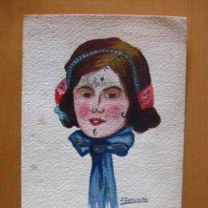 Postales: BONITA POSTAL DE MUJER PINTADA A MANO.1916. FIRMADA JOSE ZAMORANO FERRER.. Lote 30284180