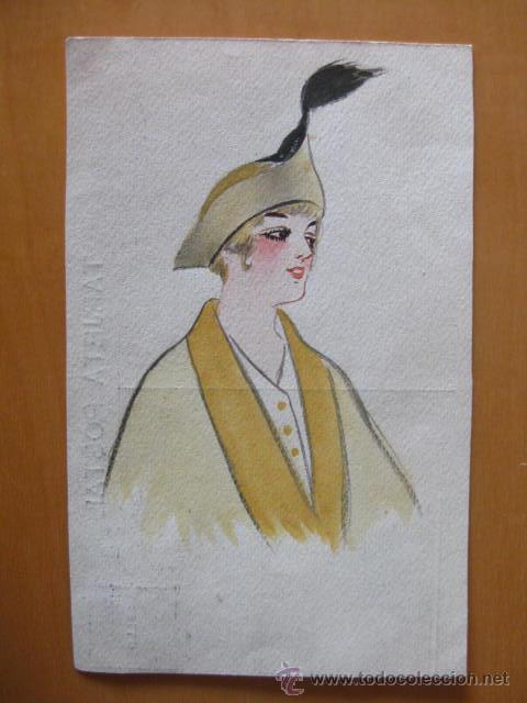 BONITA POSTAL DE MUJER PINTADA A MANO. FIRMADA POR GINER.1915 (Postales - Postales Temáticas - Dibujos originales y Grabados)