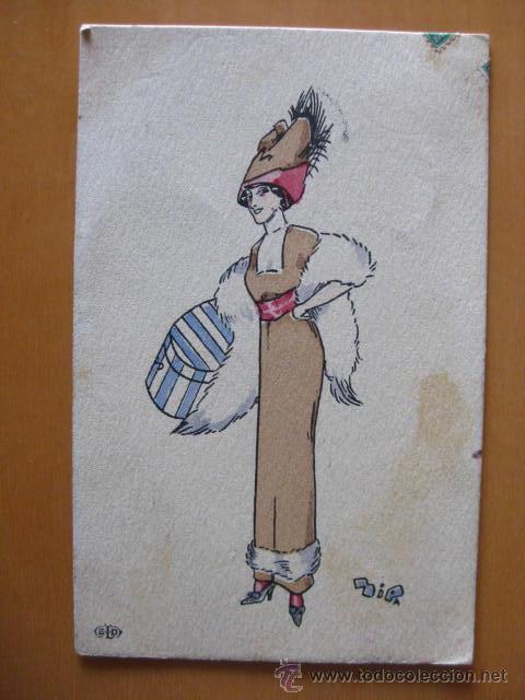 BONITA POSTAL DE MUJER A PINTADA A MANO. FIRMADA- .PRINCIPIOS 1900 (Postales - Postales Temáticas - Dibujos originales y Grabados)