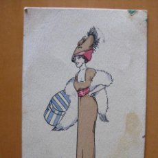 Postales: BONITA POSTAL DE MUJER A PINTADA A MANO. FIRMADA- .PRINCIPIOS 1900. Lote 30284405