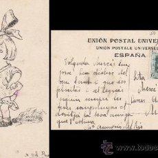 Postales: DIBUJO A PLUMILLA DE UNA NIÑA CIRCULADO EN 1929. FIRMADO Mª ASUNCIÓN DEL RIO. Lote 30519825