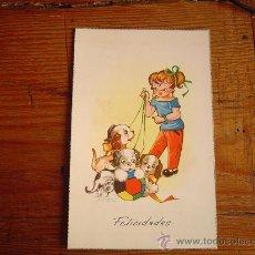 Postales: BONITA POSTAL DIBUJADA .M. NIOBO.NIÑA CON PERROS. Lote 31001062