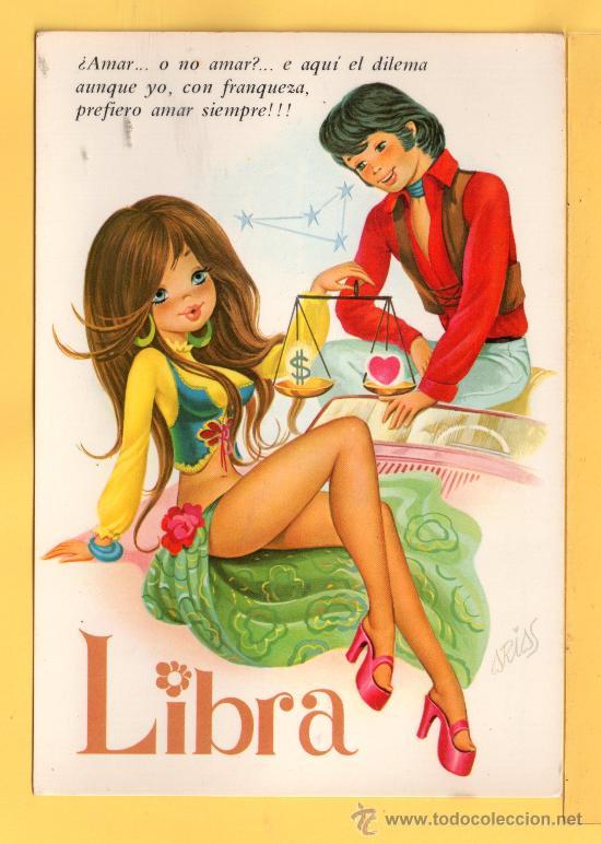 HOROSCOPO DE LIBRA EDICION C.Y.Z. DIBUJO ARIAS SIN CIRCULAR (Postales - Postales Temáticas - Dibujos originales y Grabados)