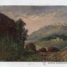 Postales: POSTAL. BONITO PAISAJE AL ÓLEO Y TÉMPERA FIRMADA POR JM CASTELLANOS (HACIA 1900). Lote 34992979