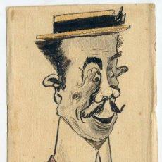 Postales: CARICATURA ORIGINAL EN TAMAÑO POSTAL 9,5 X 14,5 CMS. FIRMADA EN MENDOZA EN 1911. Lote 36968966