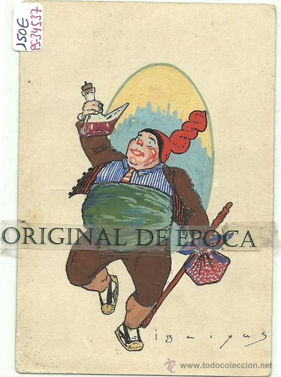 (PS-34537)POSTAL ESCRITA Y DIBUJO ORIGINAL DE IGNASI BAIXAS(1904-1956) (Postales - Postales Temáticas - Dibujos originales y Grabados)