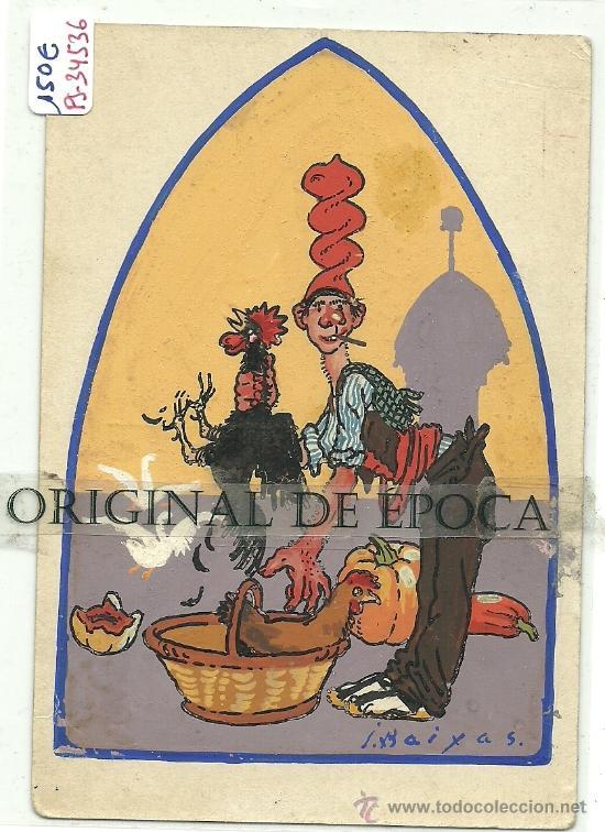 (PS-34536)POSTAL ESCRITA Y DIBUJO ORIGINAL DE IGNASI BAIXAS(1904-1956) (Postales - Postales Temáticas - Dibujos originales y Grabados)