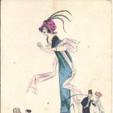 Postales: PS1137 POSTAL PINTADA A MANO 'LA FEMME DU MONDE' - CIRCULADA EN 1916. Lote 39071345