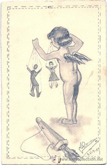 4823 - ESPECTACULAR ILUSTRACIÓN DE GLORIA ROMEU - ORIGINAL A CARBONCILLO - DATA 26-9-39 (G.C.E) (Postales - Postales Temáticas - Dibujos originales y Grabados)
