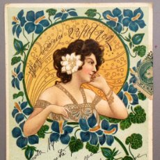 Postales: PRECIOSA POSTAL ILUSTRADA MUJER MODERNISTA, CIRCULADA EN 1902. MODERNISMO, ART NOUVEAU . Lote 39244107
