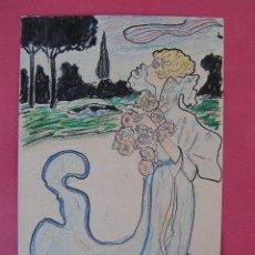 Postales: UNION POSTALE UNIVERSELLE.DIBUJO ORIGINAL J.M.HERAS.MODERNISTA BELLE-ÉPOQUE. S. XIX.SIN CIRCULAR.. Lote 39851378