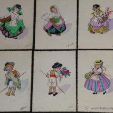 Postales: CONJUNTO DE 6 TARJETAS DIBUJADAS Y PINTADAS A MANO.. Lote 40060020