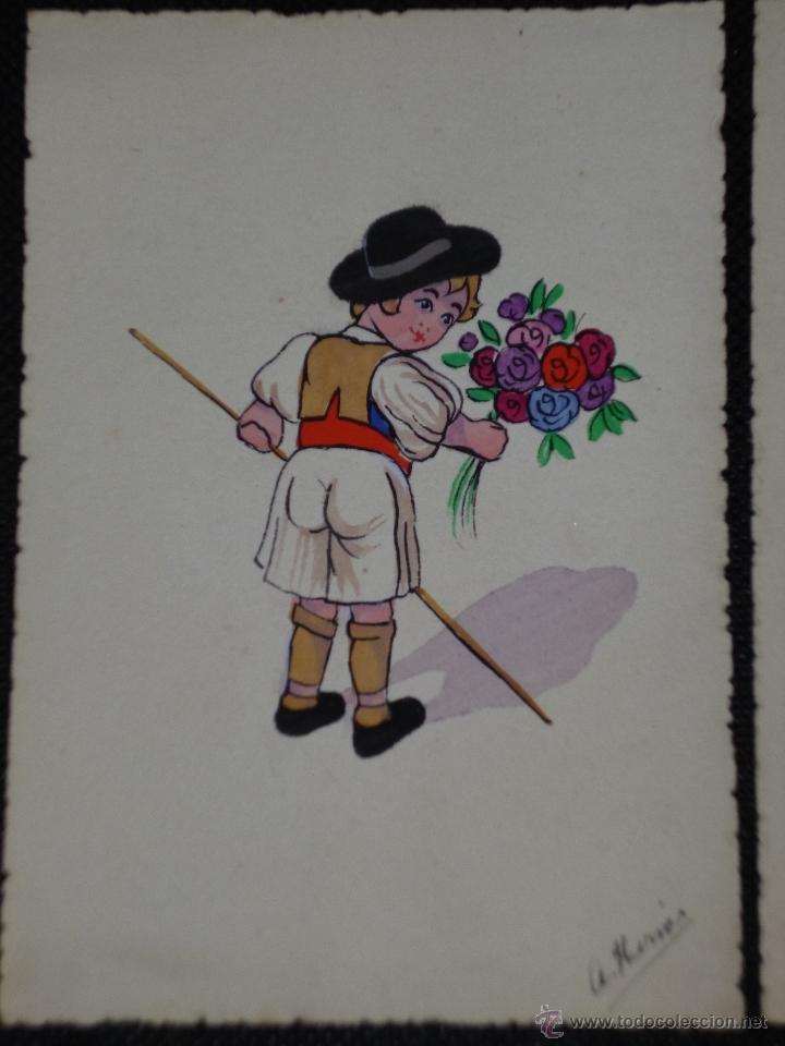 Postales: CONJUNTO DE 6 TARJETAS DIBUJADAS Y PINTADAS A MANO. - Foto 3 - 40060020