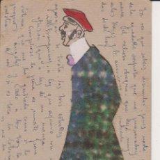 Postales: TARJETA POSTAL PERSONAJE CON PERRO PINTADA A MANO,BARCELONA 1906. Lote 40197998