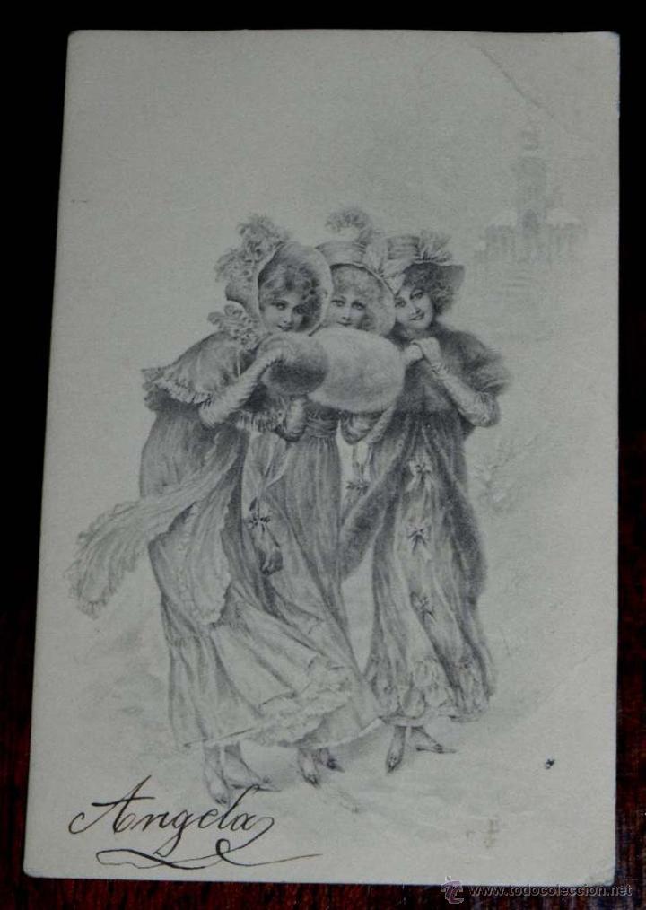 ANTIGUA POSTAL MODERNISTA DE ILUSTADOR, M. M. VIENNE, CIRCULADA EN 1902 (Postales - Postales Temáticas - Dibujos originales y Grabados)