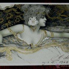 Postales: POSTAL DEL ILUSTRADOR ILLUSTRATEUR - STYLE RAPHAEL KIRCHNER - FEMME DANS UN DECOR ART NOUVEAU. Lote 38278893