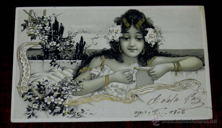 POSTAL DEL ILUSTRADOR ILLUSTRATEUR - STYLE RAPHAEL KIRCHNER - FEMME DANS UN DECOR ART NOUVEAU (Postales - Postales Temáticas - Dibujos originales y Grabados)