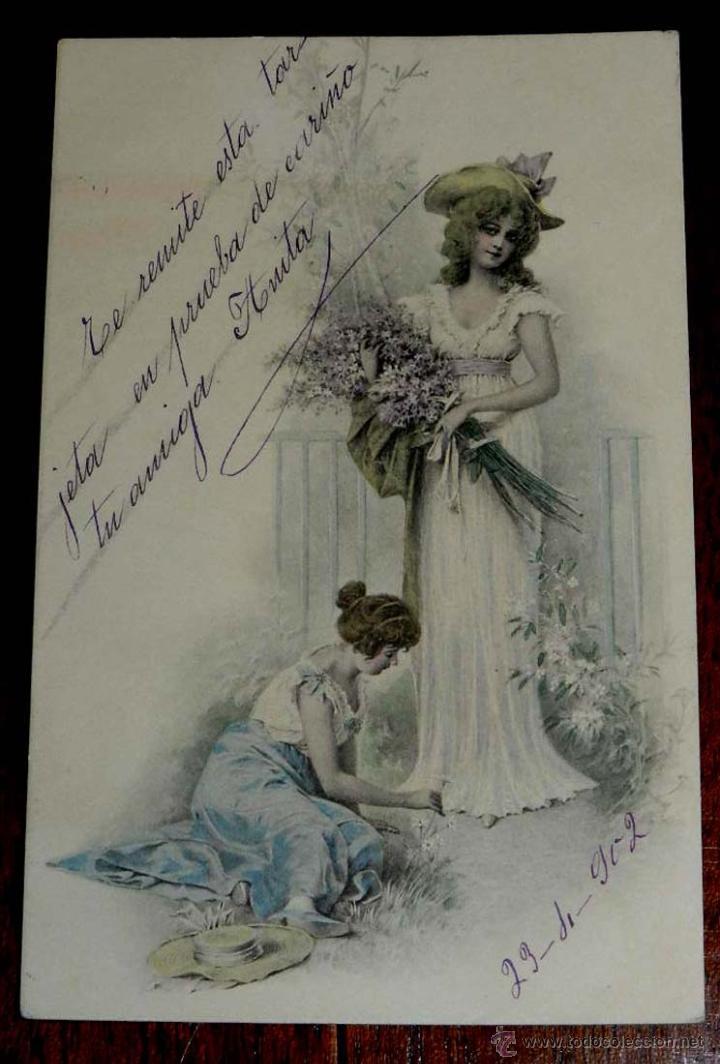 ANTIGUA POSTAL DE ILUSTRADOR M. M. VIENNE, CIRCULADA EN 1902, SIN DIVIDIR, (Postales - Postales Temáticas - Dibujos originales y Grabados)