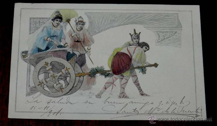 ANTIGUA POSTAL MODERNISTA, ESTILO ART NOUVEAU, VIENNOISE, ILLUSTRATEUR, M. M. VIENNE, CIRCULADA EN 1 (Postales - Postales Temáticas - Dibujos originales y Grabados)
