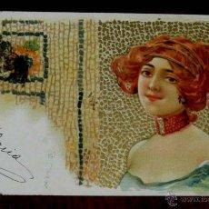 Postales: ANTIGUA POSTAL DE ILUSTRADOR ART NOUVEAU, MODERNISTA, MUJER ESTILO KIRCHNER, CIRCULADA EN 1902, SIN. Lote 38279278