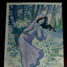 Postales: ANTIGUA POSTAL DE ILUSTRADOR, MODERNISTA, ART NOUVEAU, CIRCULADA EN 1902 . SIN DIVIDIR. . Lote 38279440