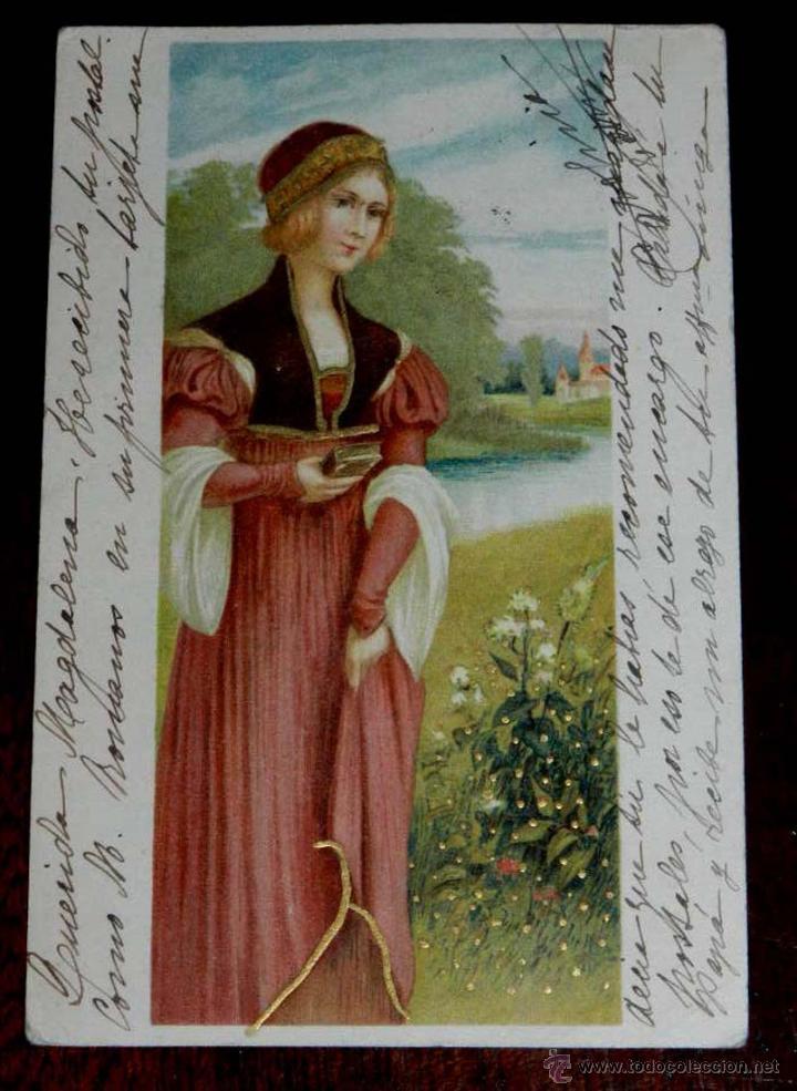 ANTIGUA POSTAL DE ILUSTRADOR SIN FIRMA, CIRCULADA EN 1902, SIN DIVIDIR. (Postales - Postales Temáticas - Dibujos originales y Grabados)