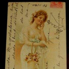 Postales: ANTIGUA POSTAL DE ILUSTRADOR RR SERIE 733, MODERNISTA, ART NOUVEAU, CIRCULADA EN 1901, SIN DIVIDIR. Lote 38279919