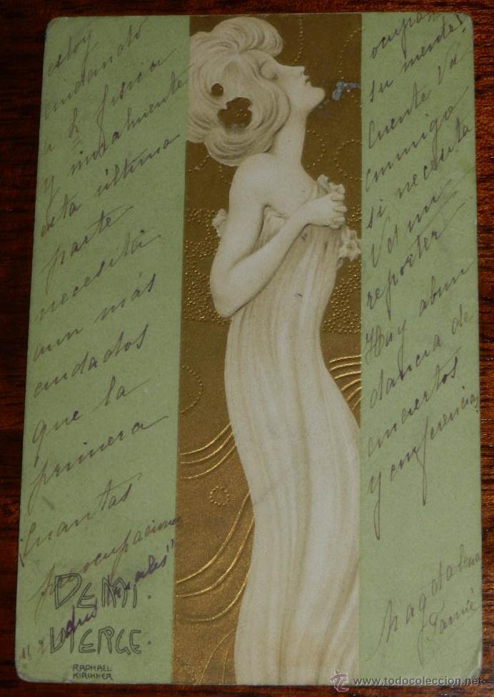 ANTIGUA POSTAL ILLUSTRATEUR - KIRCHNER RAPHAEL - ART NOUVEAU - FEMME - DEMI VIERGE, CIRCULADA (Postales - Postales Temáticas - Dibujos originales y Grabados)