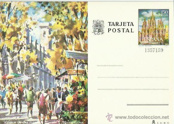 TARJETA POSTAL TEMATICA. ESPAÑA. BARCELONA. RAMBLA DE LAS FLORES. (Postales - Postales Temáticas - Dibujos originales y Grabados)