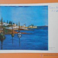 Postales: PUERTO PESQUERO. Nº 461 - ORIGINAL PINTADO CON LA BOCA POR E.A. STEGMANN. Lote 43902360