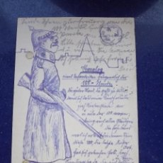 Postales: RARISIMA POSTAL SOLDADO MILITAR PINTADA ORIGINAL A MANO CON TINTA LAPIZ 1906 ARTE TRINCHERA ALEMANIA. Lote 43924712