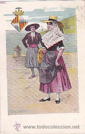 1900 - POSTAL MUJERES ESPAÑOLAS - COLOREADA - BALEARES - TIPOGRAFIA PALACIOS (Postales - Postales Temáticas - Dibujos originales y Grabados)