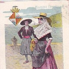 Postales: 1900 - POSTAL MUJERES ESPAÑOLAS - COLOREADA - BALEARES - TIPOGRAFIA PALACIOS. Lote 44112414