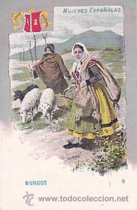 1900 - POSTAL MUJERES ESPAÑOLAS - COLOREADA - BURGOS - TIPOGRAFIA PALACIOS (Postales - Postales Temáticas - Dibujos originales y Grabados)