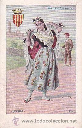 1900 - POSTAL MUJERES ESPAÑOLAS - COLOREADA - LERIDA - TIPOGRAFIA PALACIOS (Postales - Postales Temáticas - Dibujos originales y Grabados)