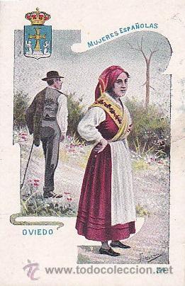 1900 - POSTAL MUJERES ESPAÑOLAS - COLOREADA - OVIEDO - TIPOGRAFIA PALACIOS (Postales - Postales Temáticas - Dibujos originales y Grabados)