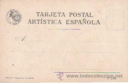Postales: 1900 - POSTAL MUJERES ESPAÑOLAS - COLOREADA - BURGOS - TIPOGRAFIA PALACIOS - Foto 2 - 44112433