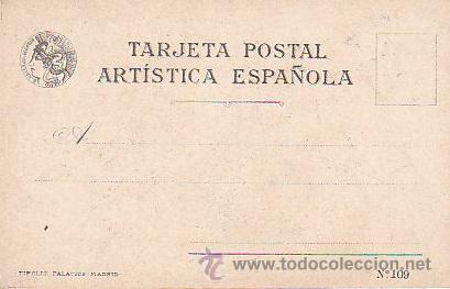 Postales: 1900 - POSTAL MUJERES ESPAÑOLAS - COLOREADA - OVIEDO - TIPOGRAFIA PALACIOS - Foto 2 - 44112511