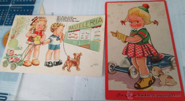 LOTE 2 POSTALES ORIGINALES ILUSTRADAS BOMBON Y OTRA POR J.B. AÑOS 50 (Postales - Postales Temáticas - Dibujos originales y Grabados)