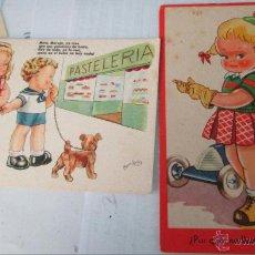 Postales: LOTE 2 POSTALES ORIGINALES ILUSTRADAS BOMBON Y OTRA POR J.B. AÑOS 50. Lote 45560918