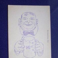 Postales: RARISIMA POSTAL HOMBRE CERVEZA PINTADA ORIGINAL A MANO CON TINTA 1910 ALEMANIA. Lote 45574706