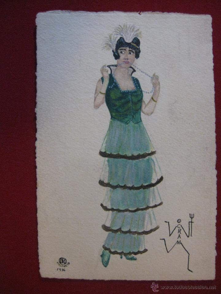 POSTAL PINTADA A MANO. SEÑORA , FIRMADA OCRAM, VALENCIA AÑO 1916. (Postales - Postales Temáticas - Dibujos originales y Grabados)