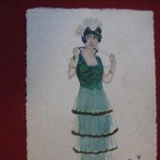 Postales: POSTAL PINTADA A MANO. SEÑORA , FIRMADA OCRAM, VALENCIA AÑO 1916.. Lote 45867305