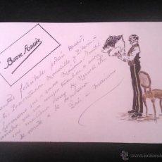 Postales: POSTAL DE FELICITACION DIBUJADA A MANO, FIRMADA POR HL, SIN DIVIDIR, CIRCULADA.. Lote 46125174