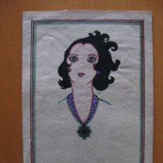 Postales: BONITA LAMINA TAMAÑO POSTAL PINTADA A MANO SEÑORA. ESTILO ART-DECO.. Lote 47304176