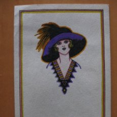Postales: BONITA LAMINA TAMAÑO POSTAL PINTADA A MANO SEÑORA SOMBRERO. ESTILO ART-DECO.. Lote 47304230